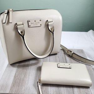 Kate Spade Cream Satchel Handbag + Multi Wallet